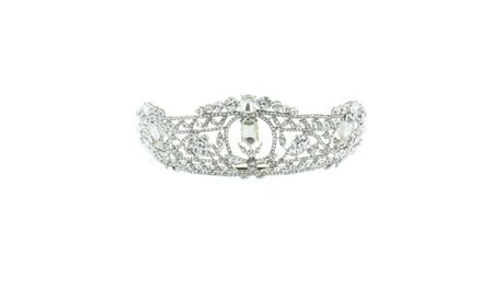 Kate Marie 'Meda' Rhinestone Crown Tiara Headband in Silver 4977bba8-9619-4954-b2e6-0d032b2a1a4e