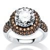 4.46 TCW Chocolate CZ Halo Ring in Silver