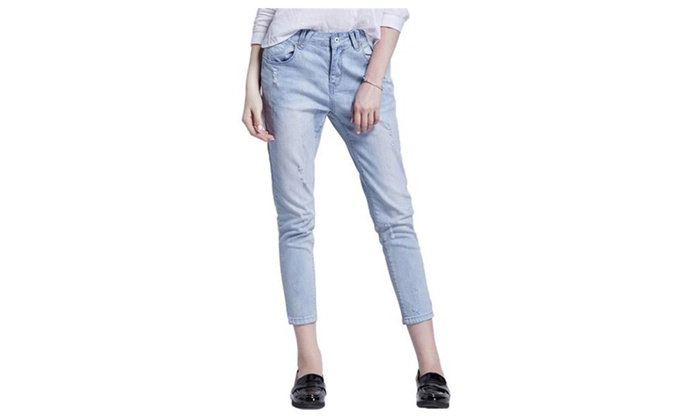 Jollypicks Women's Summer Destroyed Loose Athletic Denim Pants