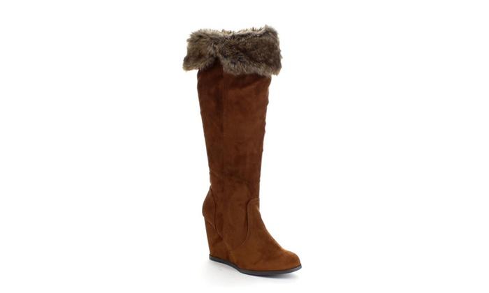 QUPID NOYA-01 Women's Faux Fur Collar Wedge Heel Side Zipper Boots