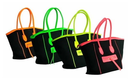 Super Hot Neon Accented Tote Purse Bag - Assorted Colors