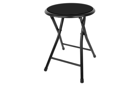 Royal Home Collection Cushioned Folding Stool in Black - 18 c23ca199-d20f-444b-a4a0-bd61f4b22514