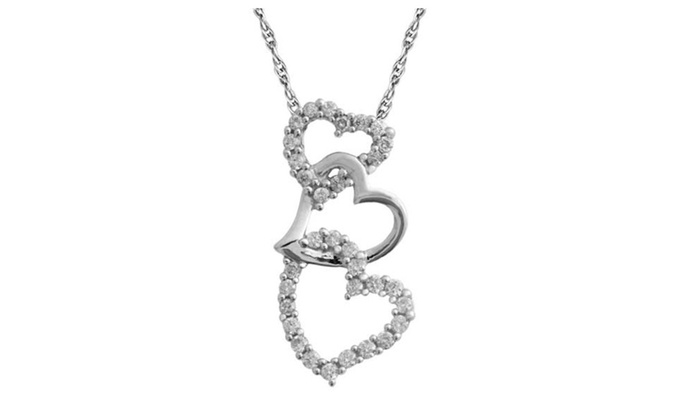 14k white gold genuine diamond heart pendant necklace 13 carat 14k white gold genuine diamond heart pendant necklace 13 carat mozeypictures Choice Image