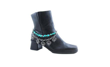 Boot Chain Anklet Turquoise & Multiple Heart Charms in Antique Silvertone Metal Chains