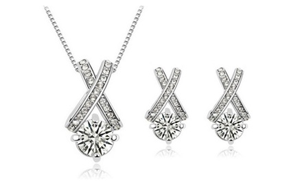 KATGI 18K White Gold Plated Hearts and Arrows Sparkling Austrian Crystal Necklace and Earrings Set