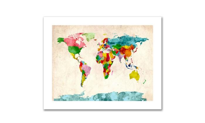 Michael tompsett watercolor world map canvas rolled art groupon michael tompsett watercolor world map canvas rolled art gumiabroncs Choice Image