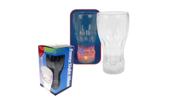 Buy It Now : Bar Drinking Glasses w/ Multi Color Flashing Led Light (Pack of 2)