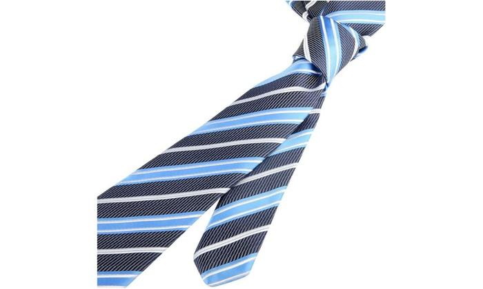 Zodaca Striped Business Wedding Twill Necktie Mens Tie Blue and Black