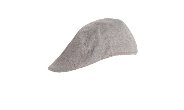 Women's Casual Flat Crown Solid Newsboy Cap – Gray / One Size