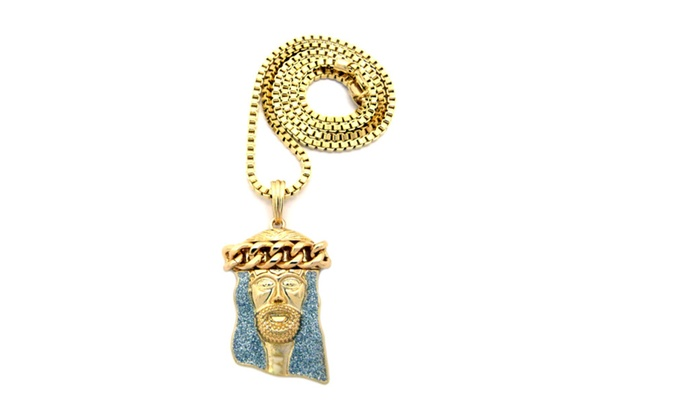 pin necklace yellow west ifandco jewelry gold piece kanye jesus