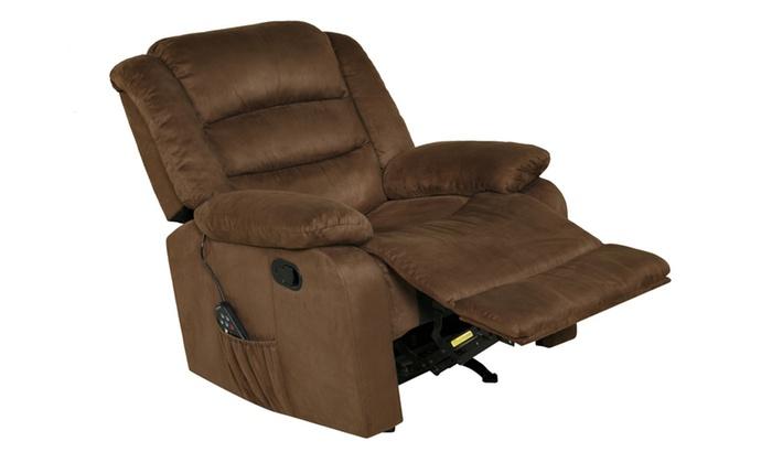 Beau ... Relaxzen 60 701011M Rocker Recliner With Heat, Massage, USB, Brown  Microfiber ...