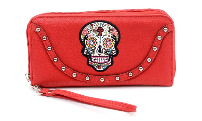 Red Sugar Skull Studded Day of the Dead Zipper Wristlet Wallet