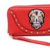 Red Sugar Skull Studded Day of the Dead Zipper Wristlet Wallet