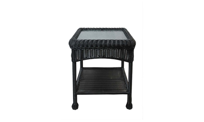 22 black resin wicker outdoor patio side table w glass top stor groupon. Black Bedroom Furniture Sets. Home Design Ideas
