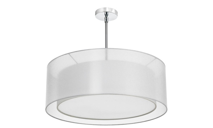 4-Light Polished Chrome Pendant with Layered White Organza Shade