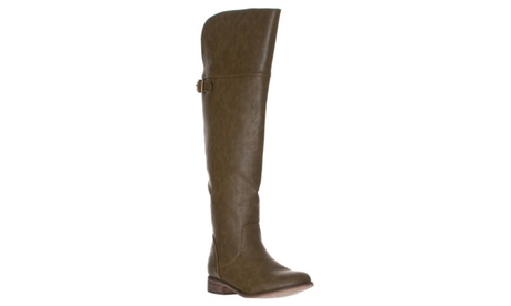 Riverberry 'Rider-24' Round Toe Buckle Riding Boots, Military Green d9c4859b-5b19-46e9-81ae-862b8fa60eb6