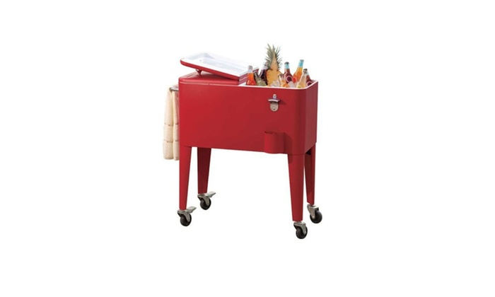 Portable Rolling Patio Ice Chest Cooler Cart