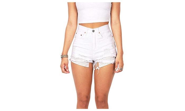Pink Ice Women's Juniors Denim High Waist Distressed Cutoff Shorts - White / Medium
