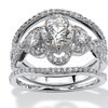 2.50 TCW CZ Ring Set in Platinum over Silver