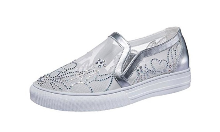 T&Mates Lace Rhinestone Slip-on Round Toe Mesh PU Flat Loafer Shoes