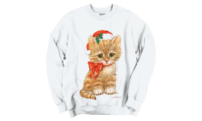 Santa's Cute Sad Christams Kitty Cat Crewneck Sweatshirt