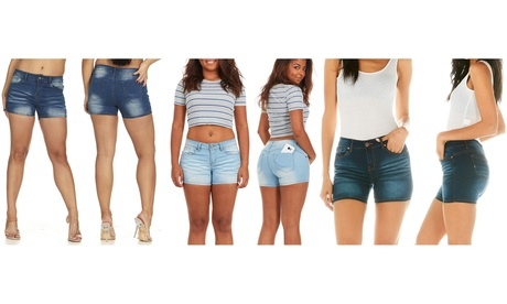 VIP Jeans for Women Juniors blue acid washed denim booty shorts
