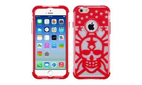Insten Glow Spider Web Hybrid Clear Crystal Case For iPhone 6S 6 Red 611a63b3-110f-49b7-a442-d64df3c4144a