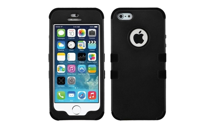 Insten Black/Black Stylish Hybrid Snap-On Case Cover For iPhone 5/5s