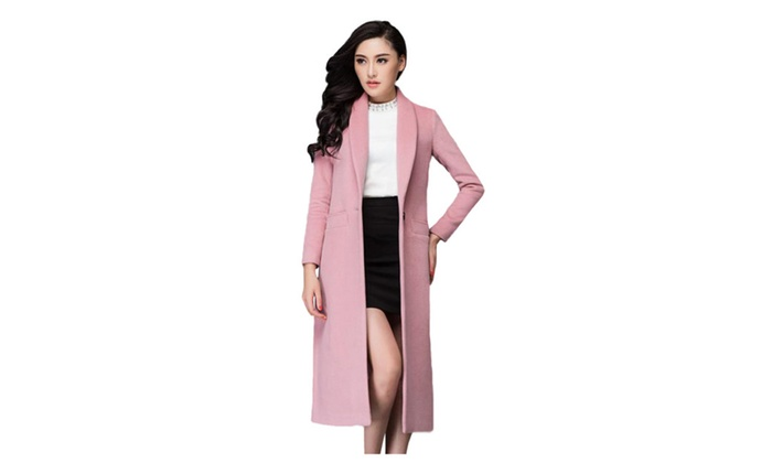 Women's Lapel Collar One Button Long Wool Coat