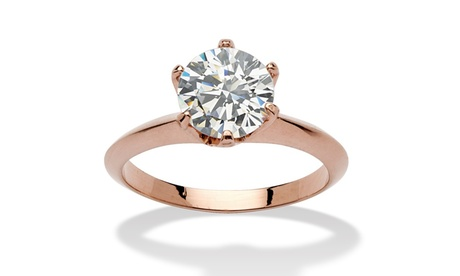 2 Carats Cubic Zirconia Solitaire Ring in Rose Gold-Plated a7604564-85e8-46d3-922e-288fbf3e7444