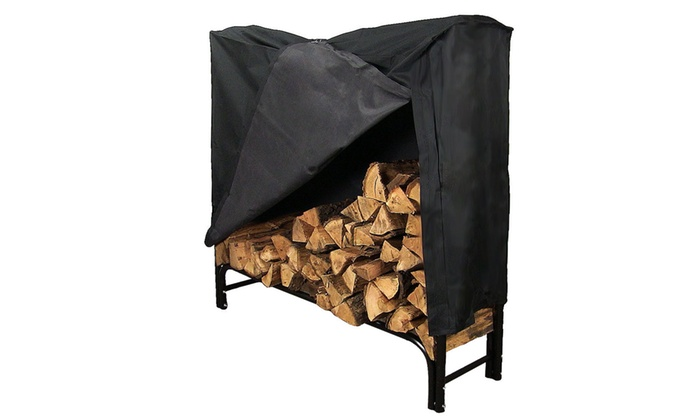 Sunnydaze Black Steel Outdoor Firewood Log Rack With Cover 4 Foot One Colored