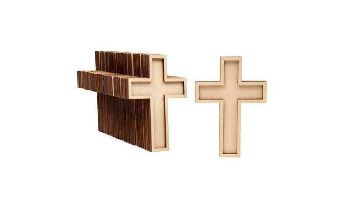 50 Pack Unfinished Wooden Cross Cutout For Wooden Craft Diy