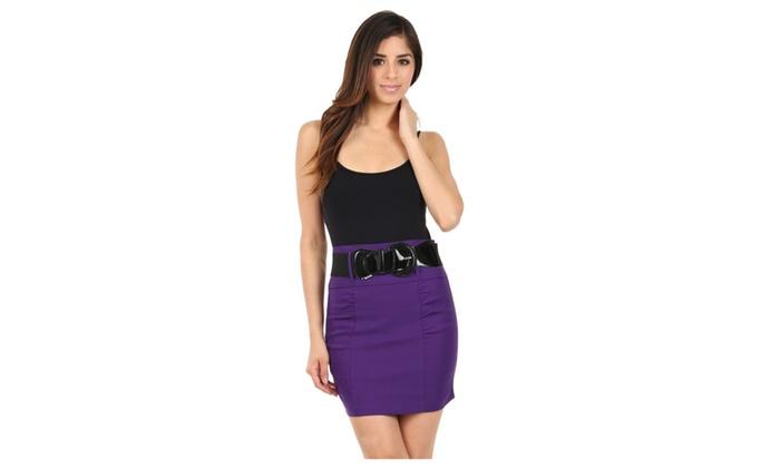 Sakkas Petite Shirred Stretch Pencil Short Skirt with Wide Belt