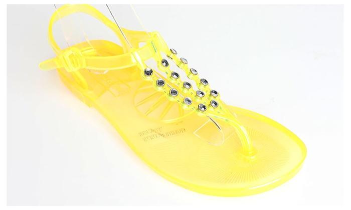 8b02610a3 ... BCBG Jelglitz Rhinestone Jelly Sandals