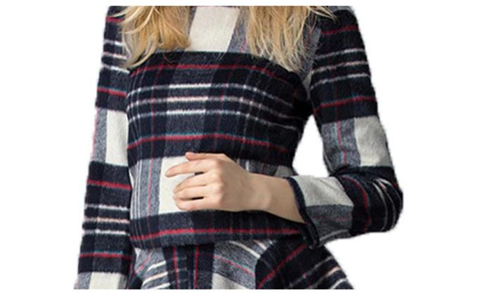 Women's Long Sleeve BackZipper Mid Rise Casual Skirt Set