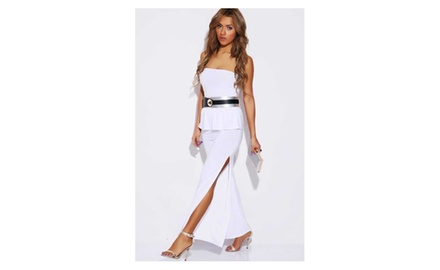 White Peplum Womens Jumpsuit