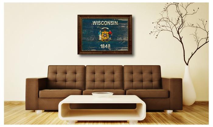 Superbe Wisconsin State Flag Framed Art Home Office Bedroom Décor Gift 6056 ...