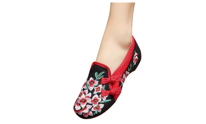 Women's Handmade Embroidery Oxford Slip On Shoes