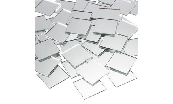 Craft Mirrors 1x1 Inch Glass Mosaic Tiles 120-Pack Bulk Square Mirror Tiles