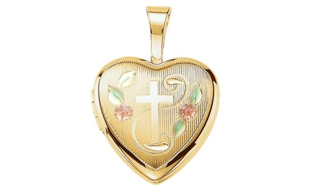 Gold Plated Sterling Silver Cross Heart Locket with Epoxy 62671789-e7a1-428d-a1f3-2b4fb6af956d