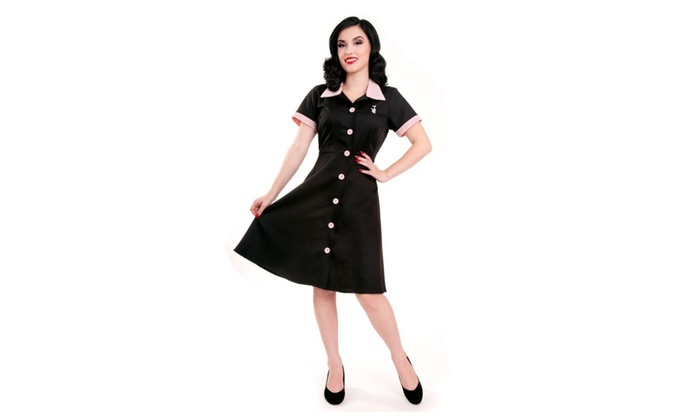 Black Retro Inspired Plus Size Ava House Dress by Steady Clothing USA