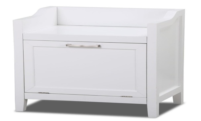 Bathroom Storage Chest Cabinet Laundry Hamper Storage Bench