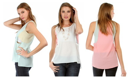 Women's Color Block Sleeveless Top With Side Cutouts