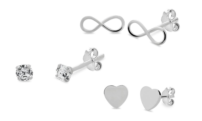 22c8a0aa8 Sterling silver trio infinity cz and heart earrings set | Groupon
