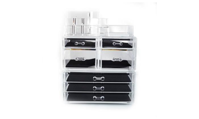 AMAYA: Cosmetics Storage Rack with 4 Small & 3 Large Drawers Transparent