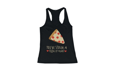 Women's Black Cotton Graphic Tank Top - You've Stolen a Pizza My Heart Tanks