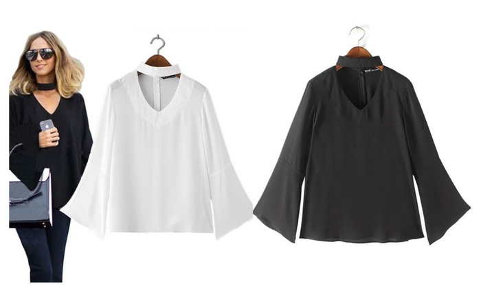 Stylish Flare Sleeve Halter V-neck Chiffon Blouse (2)