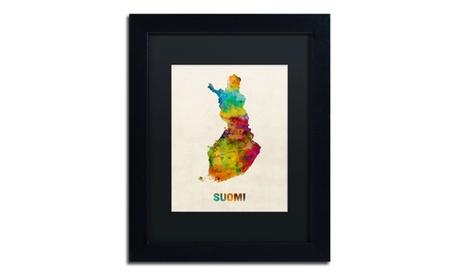 Michael Tompsett 'Finland Watercolor Map (Suomi)' Matted Black Framed Art eb45247b-9c61-48e8-9e02-b5dbc2ba1490
