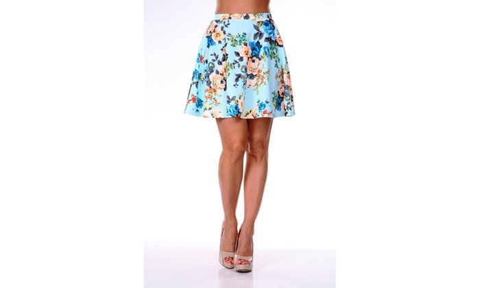 Soft  Blue Flowers Heidi' Flare Skirt