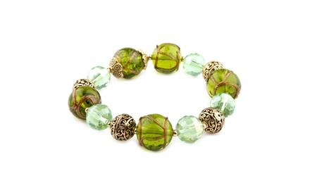 Cleo Collection Green Murano Glass Bracelet